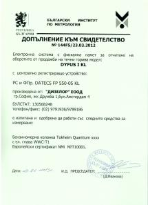 Annex to Certificate 144FS/23.03.2012 of registering and reporting retail sales through fiscal systems