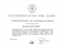 Certificate of appreciation from the American Army