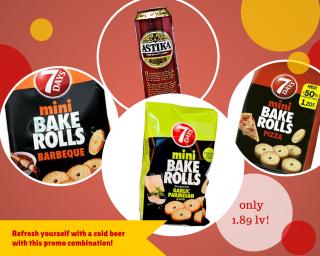 Astika beer + Mini Bake rolls